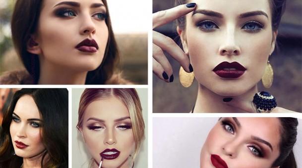 19 υπέροχες προτάσεις φθινοπωρινού μακιγιάζ με σκούρα κόκκινα χείλη.(Photos)