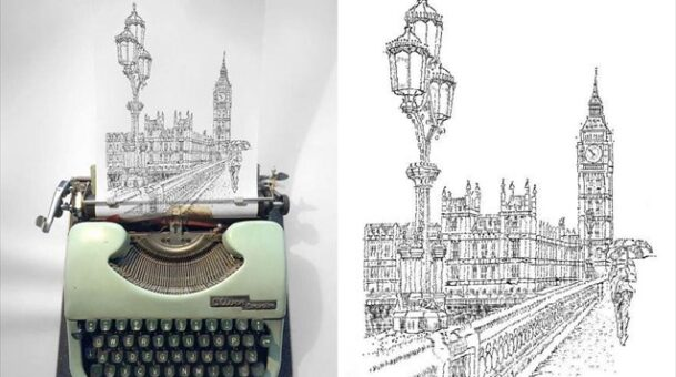 Ζωγράφος δημιουργεί θαυμαστά έργα με …  γραφομηχανή!(Photos)